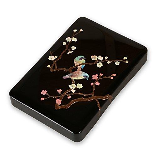 硯箱 すずり箱 螺鈿(らでん) 梅に樫鳥5.5寸 高岡漆器