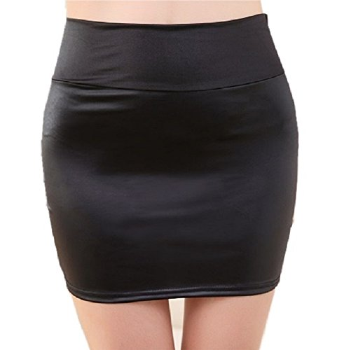 cozyfree レザー風 ミニスカート タイト セクシー レディーススカート 光沢 つやつや ブラック フリーサイズ ショート丈 36cm