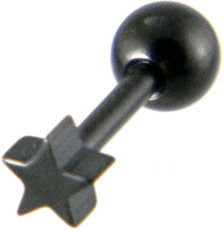 私たち名義で抑圧する星ピアス ステンレス 極小スター片耳用ブラック/メンズピアス ボディピアス バーベル