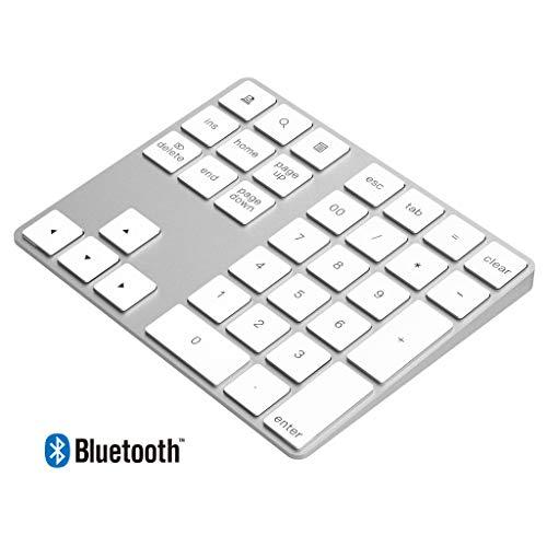 Cateck アルミニウム製 Bluetoothワイヤレス 34キーのスマート テンキー/数字キーッパッド、MacsとPCs向けのデザイン 1000万回高耐久 (充電式)