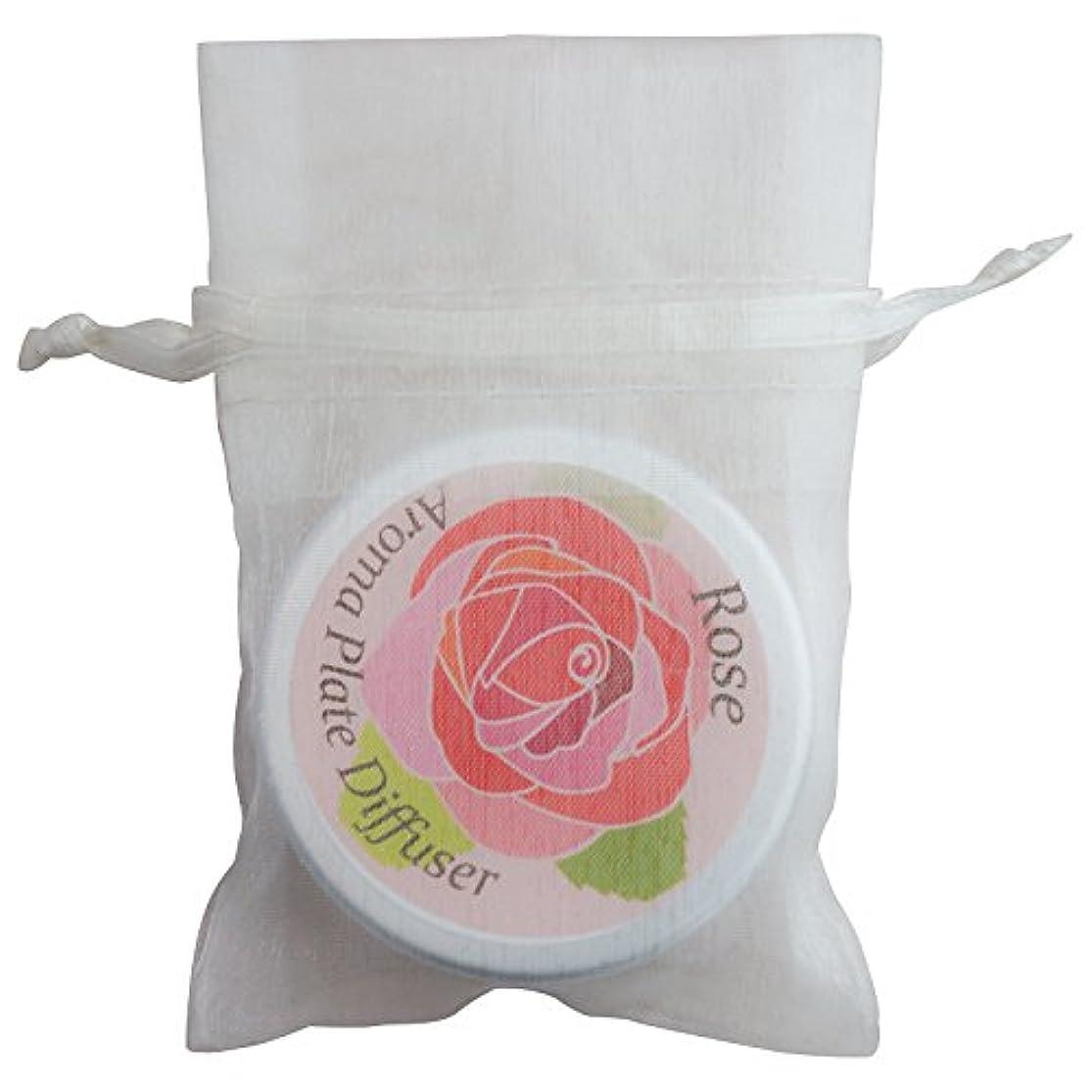 アンプ提供するわざわざアロマラボ 伊万里製 アロマプレート(ローズデザイン) アルミ缶入 オーガンジー袋つき