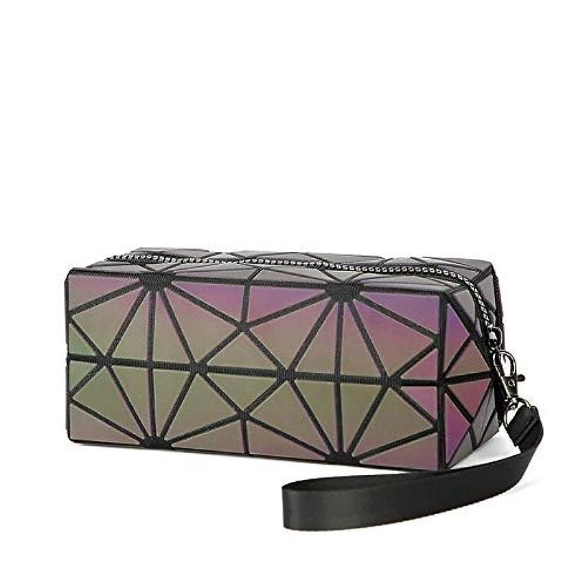 したい形成餌Leshang 化粧ポーチ 幾何模様デザイン 3 スタイル ホログラフィック 反射素材 化粧ポーチ 化粧品バッグ メイクバッグ コスメ収納 化粧道具の収納バッグ (3)