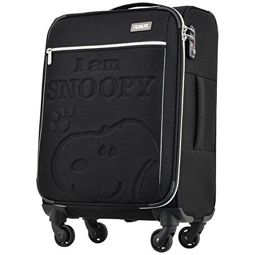 キャリーケース ピーナッツ スヌーピー 当社限定 スーツケース かわいい TSAロック PEANUTS SNOOPY ファスナータイプ 4輪 32L 1日 2日用 46cm Sサイズ PN-005【1年保証付】 (BLACK)