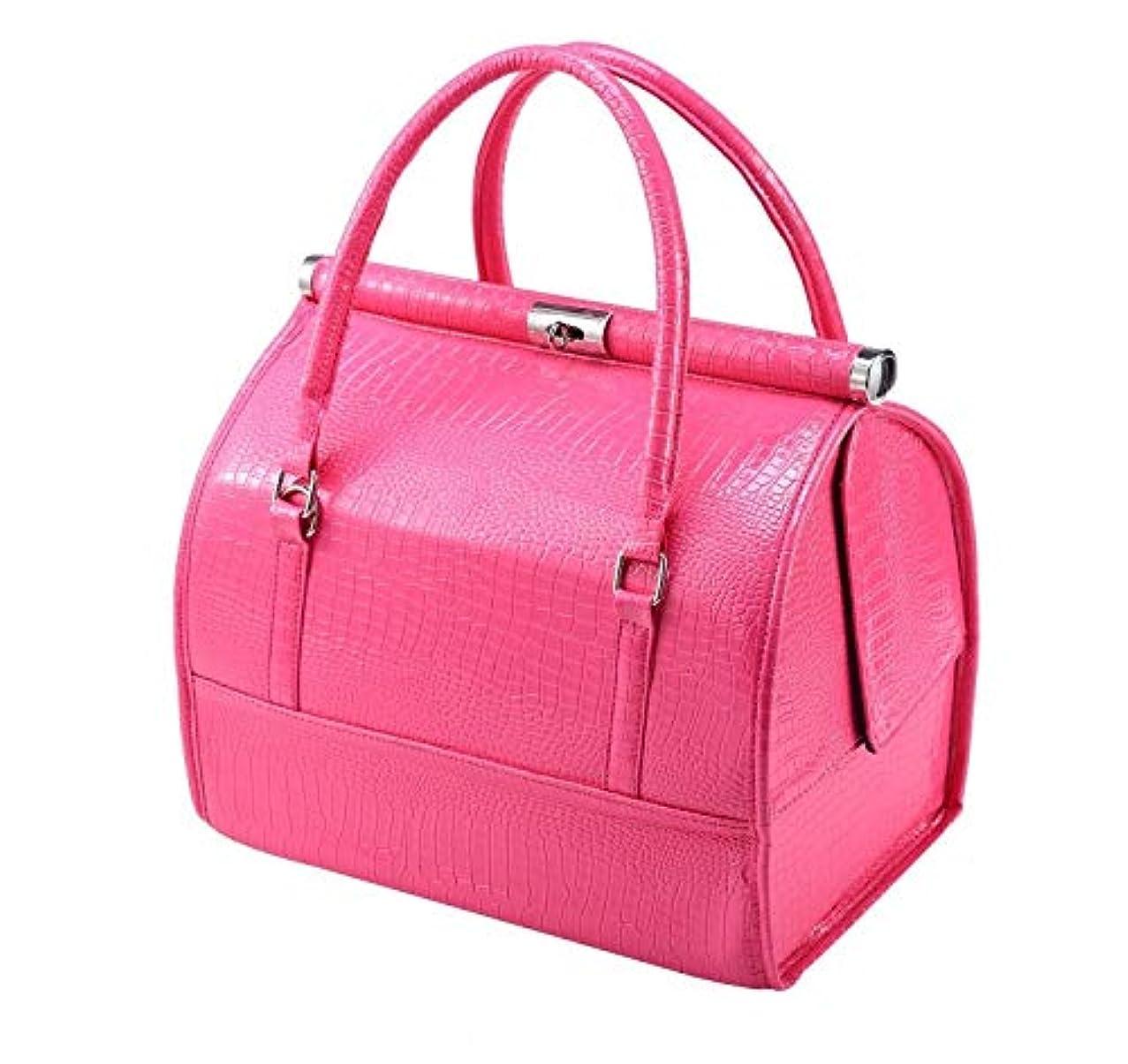 に沿ってそよ風早く化粧箱、大容量の対角および携帯用化粧品の箱、携帯用旅行化粧品袋、美の釘の宝石類の収納箱 (Color : ピンク)