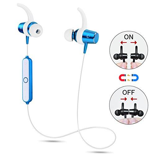 Bluetooth イヤホン 高音質 ブルートゥース イヤホン スポーツ マグネット ON/OFF機能搭載 ワイヤレス ヘッドセット 無線 カナル型 APT-X対応 内蔵マイク 両耳 片耳 防滴 防汗 軽量 iPhone/Android対応 イヤフォン(ブルー)