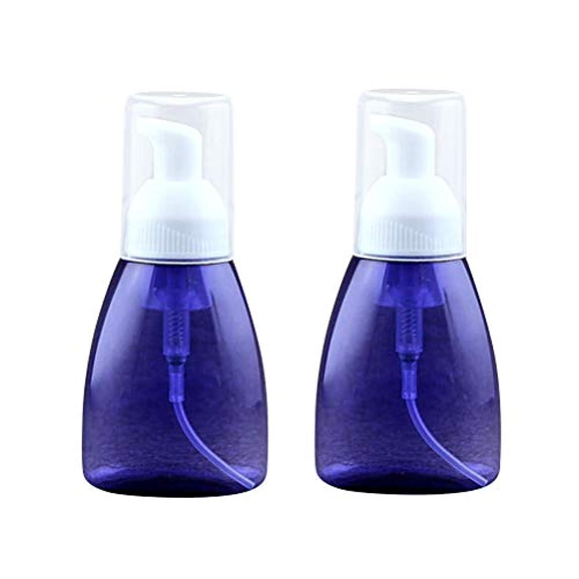 センターピストンシングルSUPVOX 2本発泡ソープディスペンサー詰め替え式プラスチックローションボトル泡ハンドポンプ空のボトル容器クリアトラベルトイレタリーボトル用液体シャンプー80ml(ブルー)
