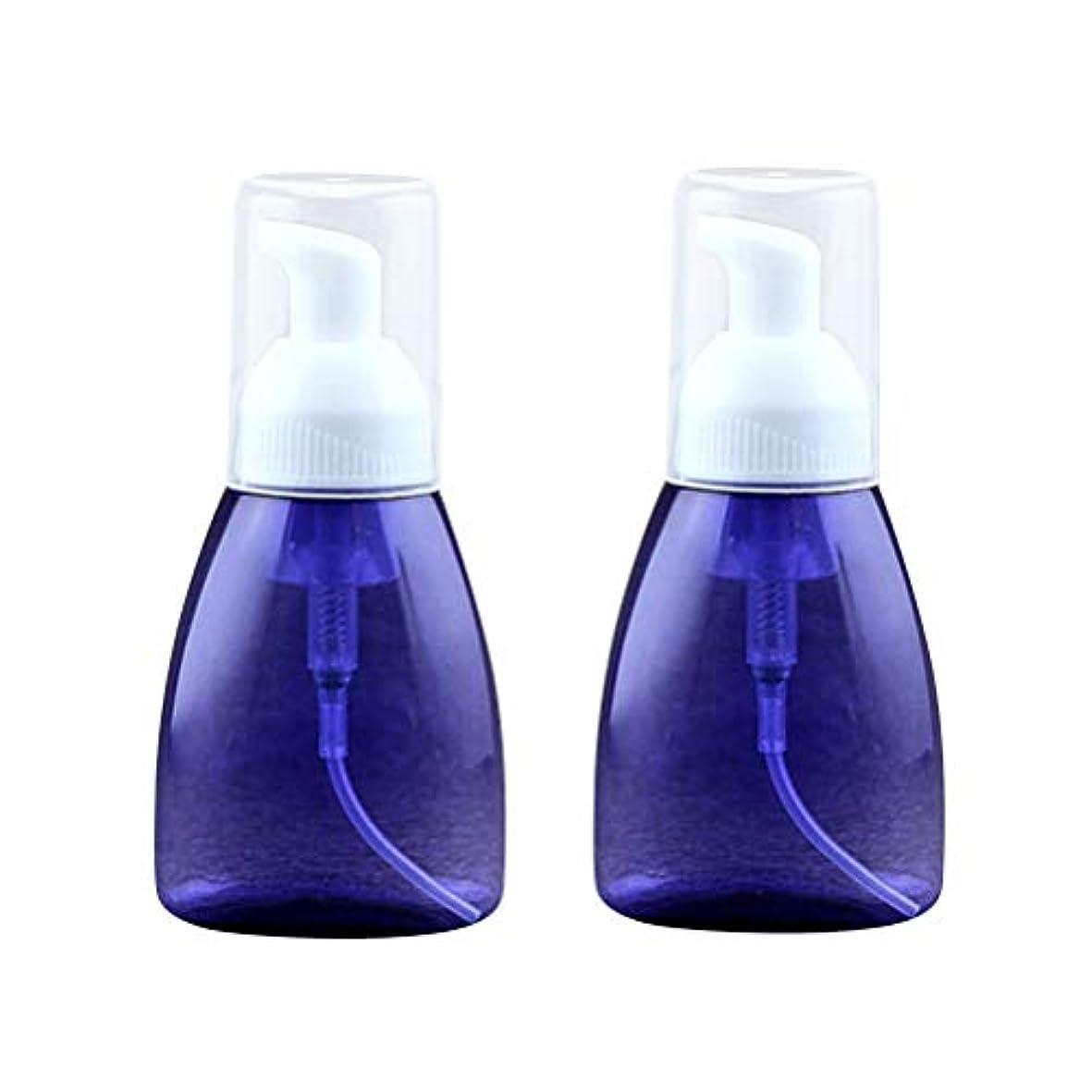配偶者スポンジ活発SUPVOX 2本発泡ソープディスペンサー詰め替え式プラスチックローションボトル泡ハンドポンプ空のボトル容器クリアトラベルトイレタリーボトル用液体シャンプー80ml(ブルー)