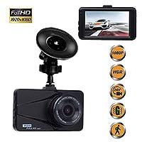 ミニ ダッシュカム、車の運転レコーダー1080PフルHD車カメラダッシュボードカメラレコーダー、170°広角レンズ、モーション検出、Gセンサー、ループ録画、駐車場監視 フルHD, 16G SD Card