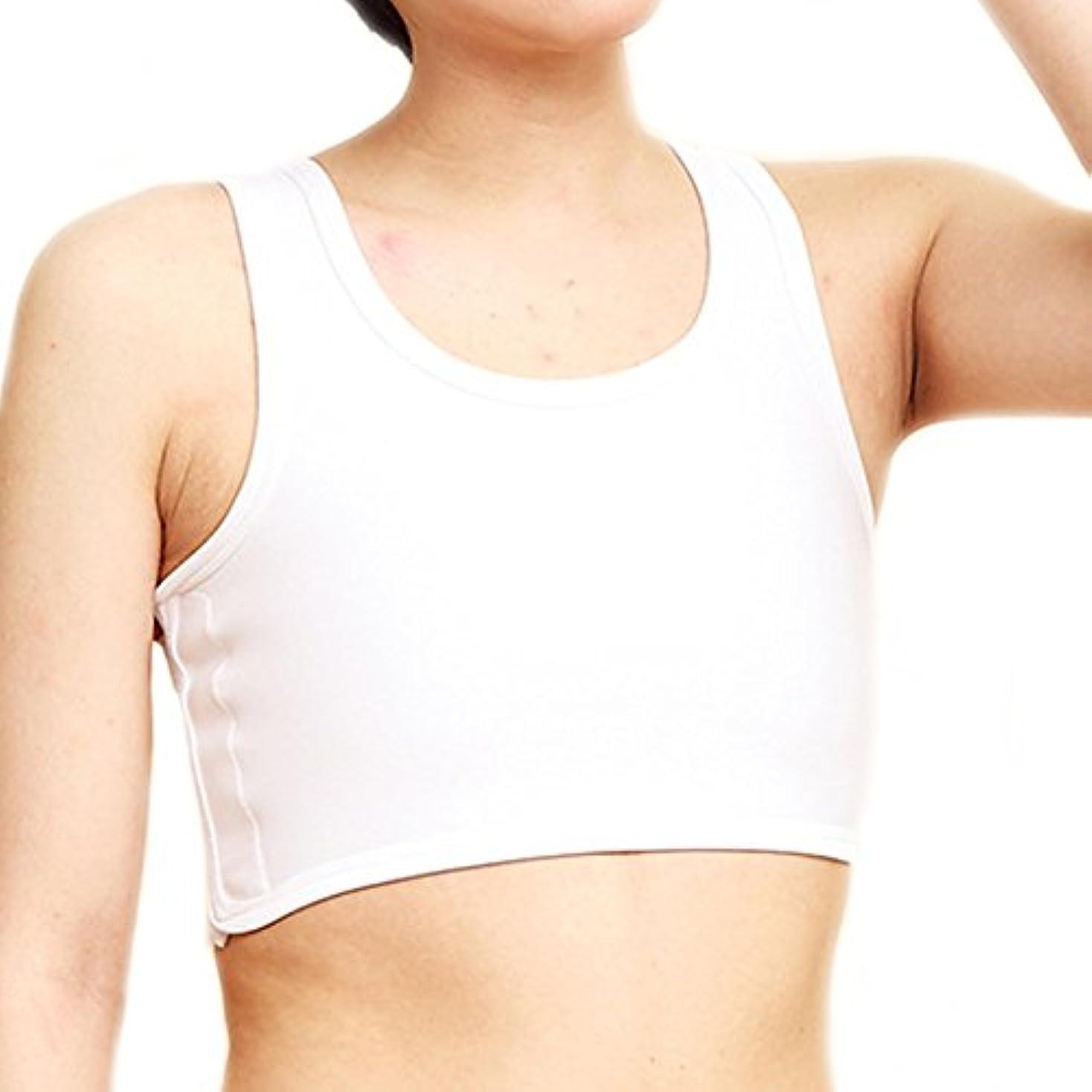 ストレスの多い仲間ブレスBaronHong通気性メッシュ胸部バインダーベルクロコルセットスポーツブラジャーTomboyトランスレズビアン(白、M)