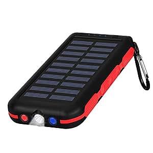 モバイルバッテリー ソーラー 25000mah 大容量急速充電 高輝度LEDライト SOS警告灯付く ソーラーパネルを搭載 旅行/キャンプ/ハイキング/地震/災害/出張/アウトドア活動などの必携品ほとんど機種対応 ナイロン袋付き 持ち運びに便利