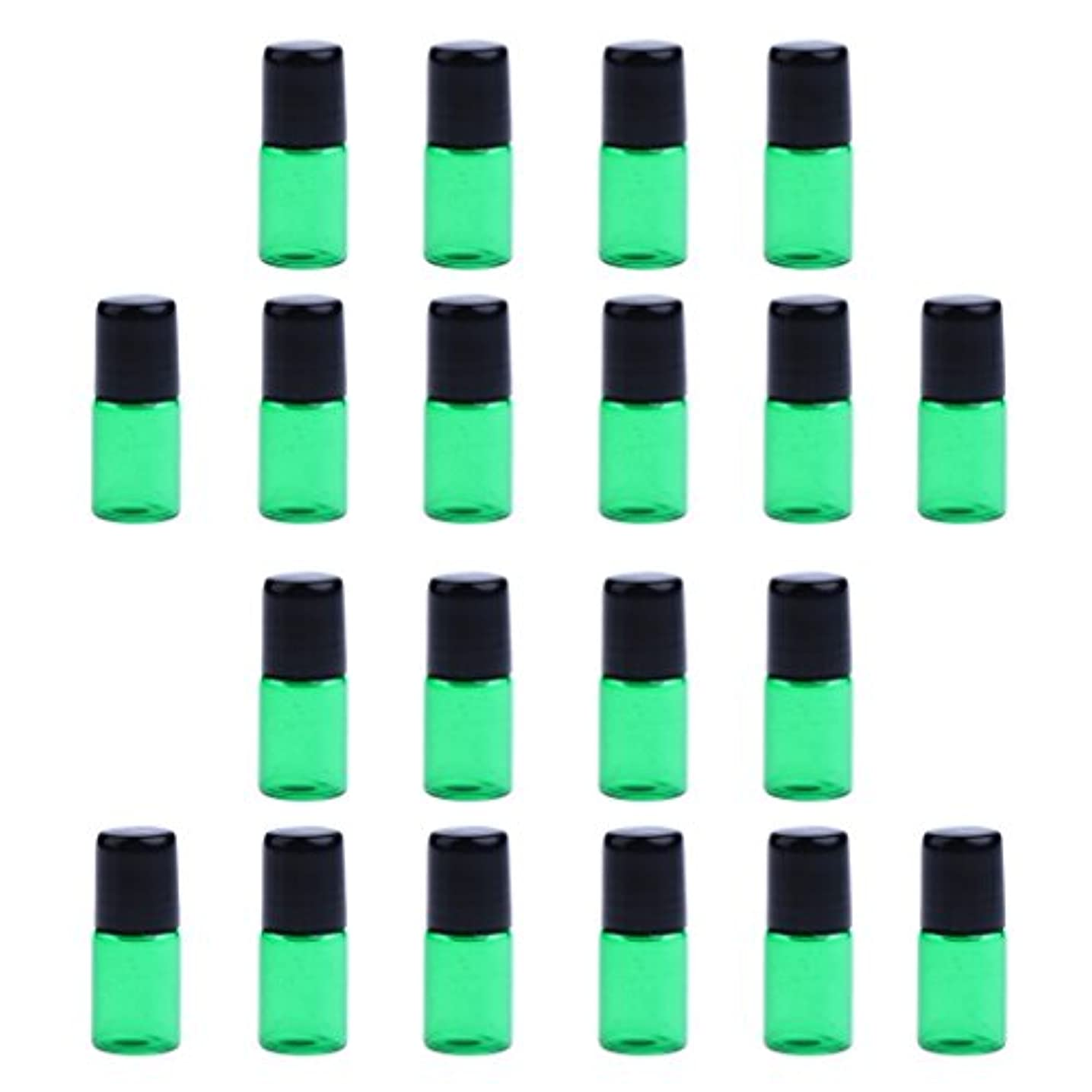 雄弁誕生トースト約20個 ガラスボトル 詰替え オイル 香水 ミニサイズ 旅行小物 出差 全4色3サイズ選べる - 緑, 1ML