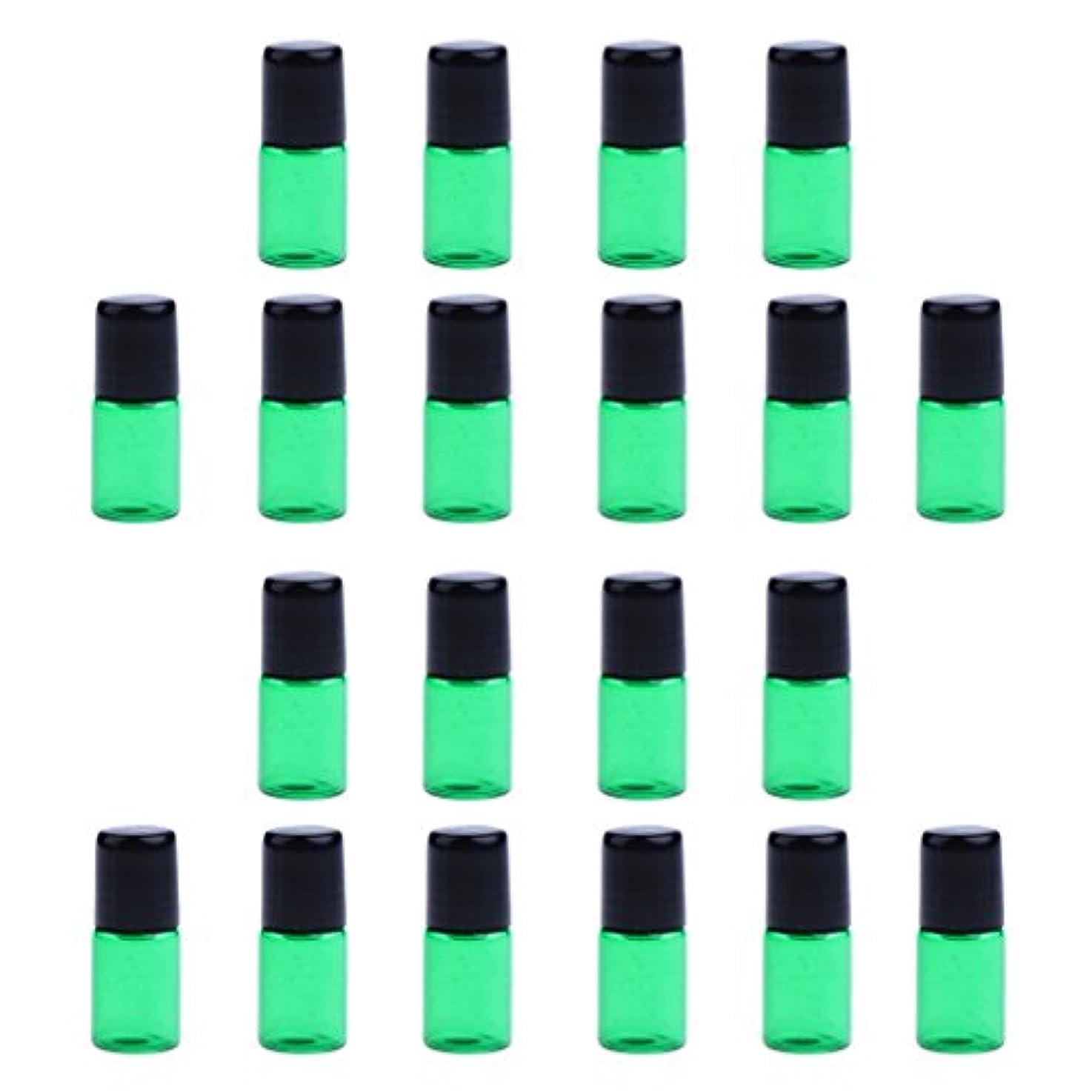 キリン政治家配管約20個 ガラスボトル 詰替え オイル 香水 ミニサイズ 旅行小物 出差 全4色3サイズ選べる - 緑, 1ML