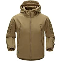 AIKOSHA Mens Soft Shell Tactical Hoodie Fleece Jacket Lightweight Waterproof Outdoor Hiking Hunting Camping Trekking Outwear
