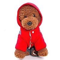 ACHAOHUIXI クリスマスフェスティバル小型犬アパレルチワワペットのための冬のウォームコットンペット犬の服ベアデザインダウンコート犬 (色 : レッド, サイズ : XS)