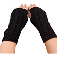 Bullidea Women Lady Winter Knitted Long Fingerless Gloves Solid Color Creative and Elegant Design for Daily Life Use Keep Warm(Black)
