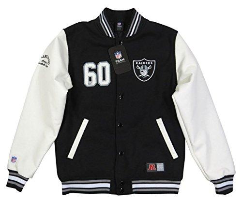 (マジェスティック)MAJESTIC NFL オークランド レイダース PUレザー × メルトンウール スタジャン L BLACK/WHITE(ブラック×ホワイト)