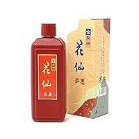 【墨液 花仙(茶墨) 400cc 開明】漢字・かな・水墨画に適した淡墨表現も可能な「花仙」は古墨の特徴を出すために特別な製法で作られた墨液です。