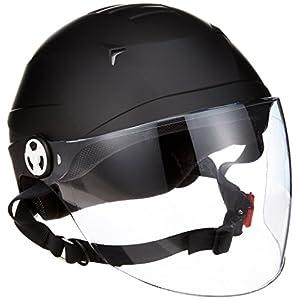 リード工業 バイクヘルメット ハーフ シールド付 マットブラック RE41 LL (頭囲 61cm~62cm未満)