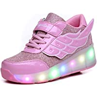 Ufatansy Kids Adults LED Light Up Sneakers Single Wheels Roller Skate Shoes Best Gift for Halloween Christmas