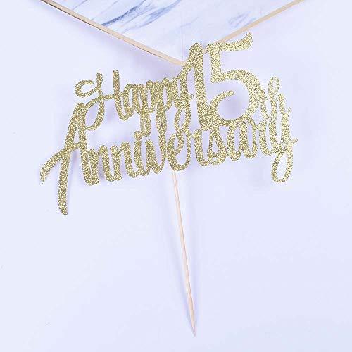 YUINYO15周年記念パーティーデコレーション ゴールドグリッター 15周年記念 記念日 ケーキトッパー 永遠の15周年記念パーティー