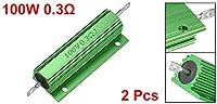 uxcell メタルクラッド抵抗 100W 0.3Rアルミニウムハウジング抵抗 100ワット 0.3オーム グリーン LED PCB用抵抗器 2個入り