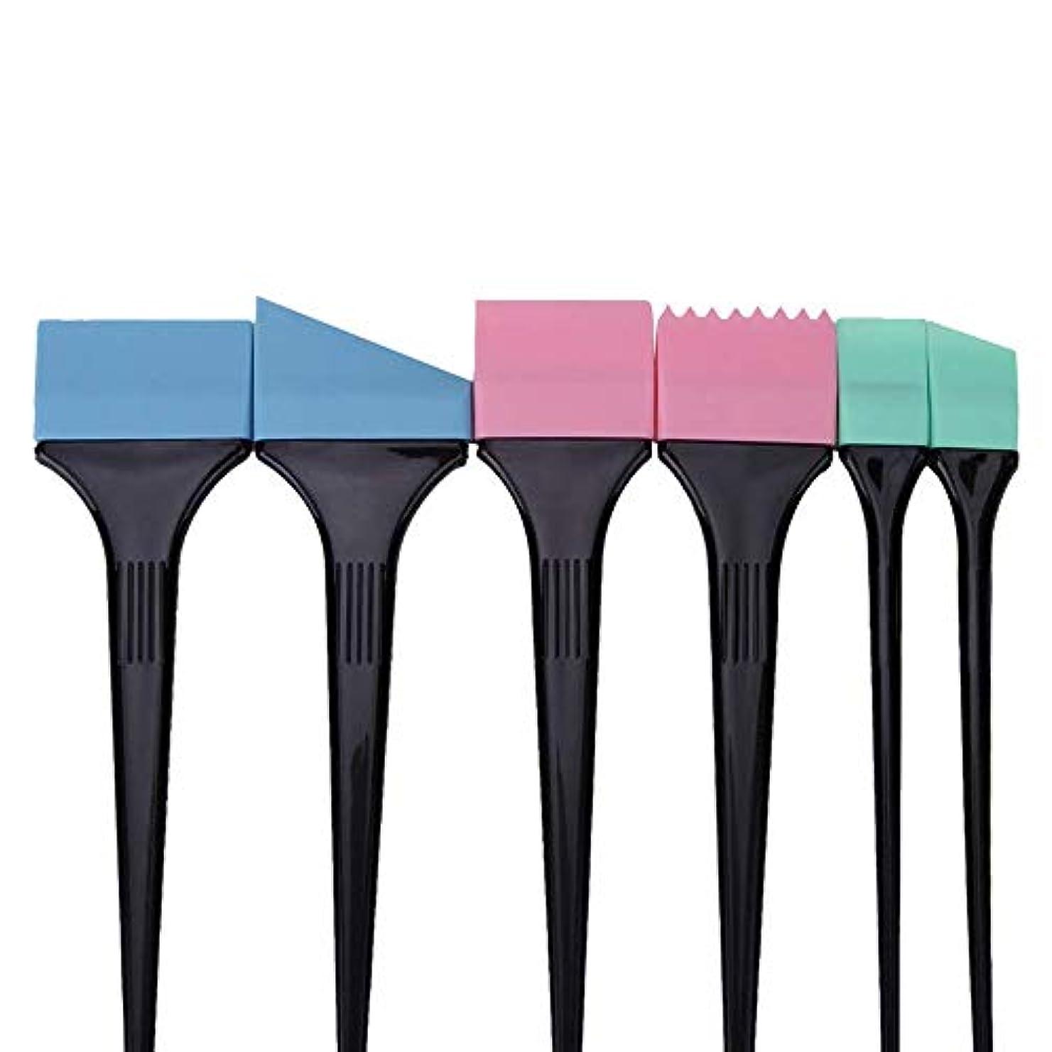 評価導入する国6個/セット髪染めブラシセット用サロン髪着色くし髪染めツールセットヘアダイブラシ