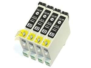 EPSON エプソン ICBK32互換 インクカートリッジ 4個セット ブラック