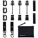 """BOOSTEADY Kit of 13 Attachments for Molle Bag Tactical Backpack Vest Belt,D-Ring Grimloc Locking, Web Dominator Elastic Strings & Buckle,4"""" MOD Straps,Key Ring Holder in Zippered Pouch"""