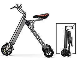 3 Wheel Foldable Electric Bike, Aluminum Alloy Electric Bicycle,25 lbs Ultra Light, with LCD Display speed