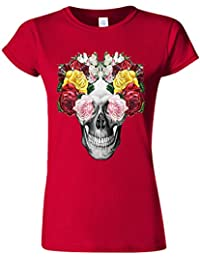 Floral Skull Roses Vintage Novelty Cherry Red Women T Shirt Top-XXL