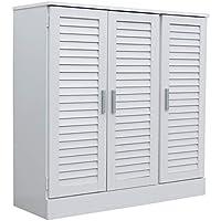 下駄箱 シューズボックス ルーバー 91cm幅 北欧 スタイル (ホワイト)