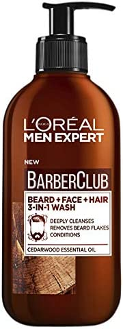 L'Oréal Paris Men Expert Barber Club 3-in-1 Beard, Face and Hair Cleansing Wash For Men, Enriched with Ess