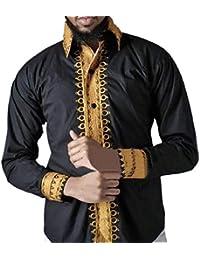 Sodossny-JP メンズワークウェアカジュアルアフリカプリントロングスリーブファッションドレスワークシャツ