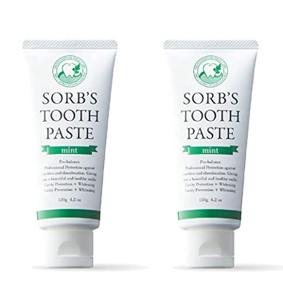より良い美的強調ソーブズ トゥースペースト ミント 120g×2本セット 歯磨き粉 SORB'S ソーブス TOOTH PASTE mint