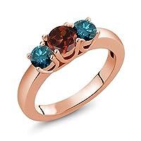 Gem Stone King 1.09カラット 天然 ガーネット 天然 ブルーダイヤモンド シルバー925 ピンクゴールドコーティング 指輪 リング