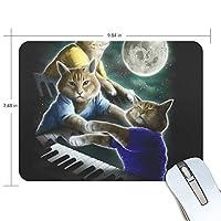 マウスパッド 猫 ピアノ 月 疲労低減 ゲーミングマウスパッド 9 X 25 厚い 耐久性が良い 滑り止めゴム底 滑りやすい表面