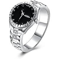 greatfunレディースメンズクリエイティブリングスチールクール合金指リング腕時計ファッションダイヤルクォーツアナログ腕時計 6