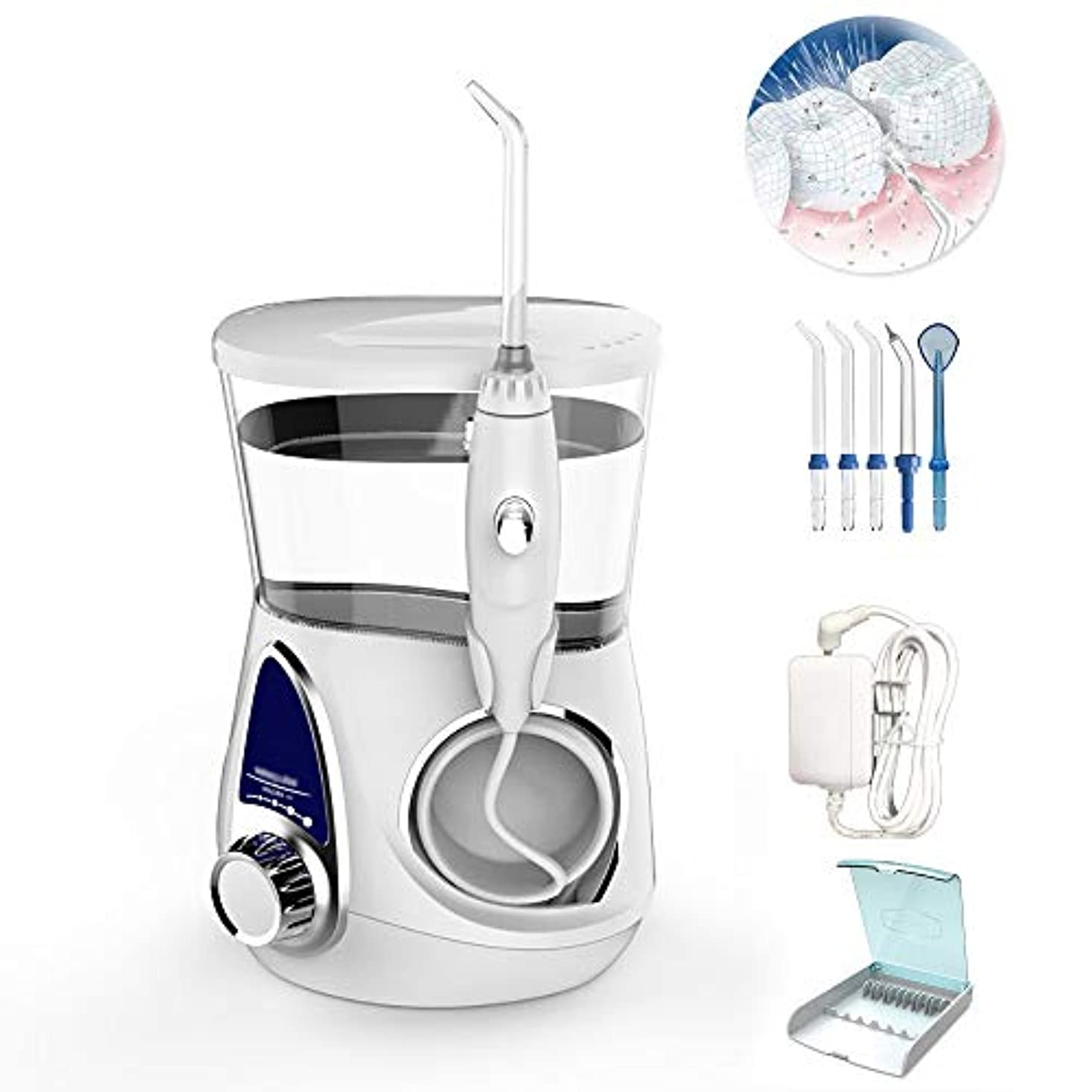神聖ポテトシート口腔洗浄器フロスウォータージェット、歯用電動フロッサ、3つの標準ノズル+ 1つの歯周ポケットノズル+ 1つの舌スクレーパー+ 1つのノズル収納ボックス、100-240V、700Ml,White-B