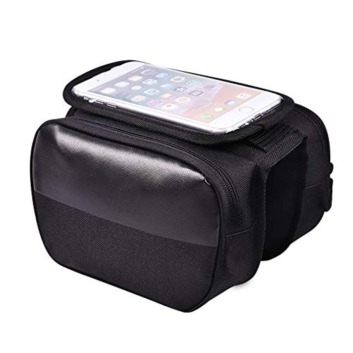 週末近々刑務所バイクフレームバッグトップチューブ携帯電話バッグダブルポーチマウント電話バッグTPUタッチスクリーンシールドジッパーストラップオンサドル6インチ未満のスマートフォンに最適