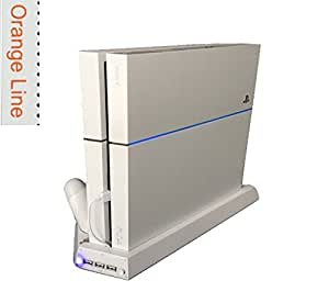 PS4 多機能縦置きスタンド コントローラー2台充電 USBハブ3ポート 【騒音ファン無し】 【1年保証付き】【グレイシャーホワイト】【Orange Line】