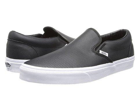 (バンズ) VANS メンズスニーカー・靴 Classic Slip-On Core Classics (Perf Leather) Black Men's 7.5, Women's 9 25.5cm (レディース 26cm) Medium [並行輸入品]