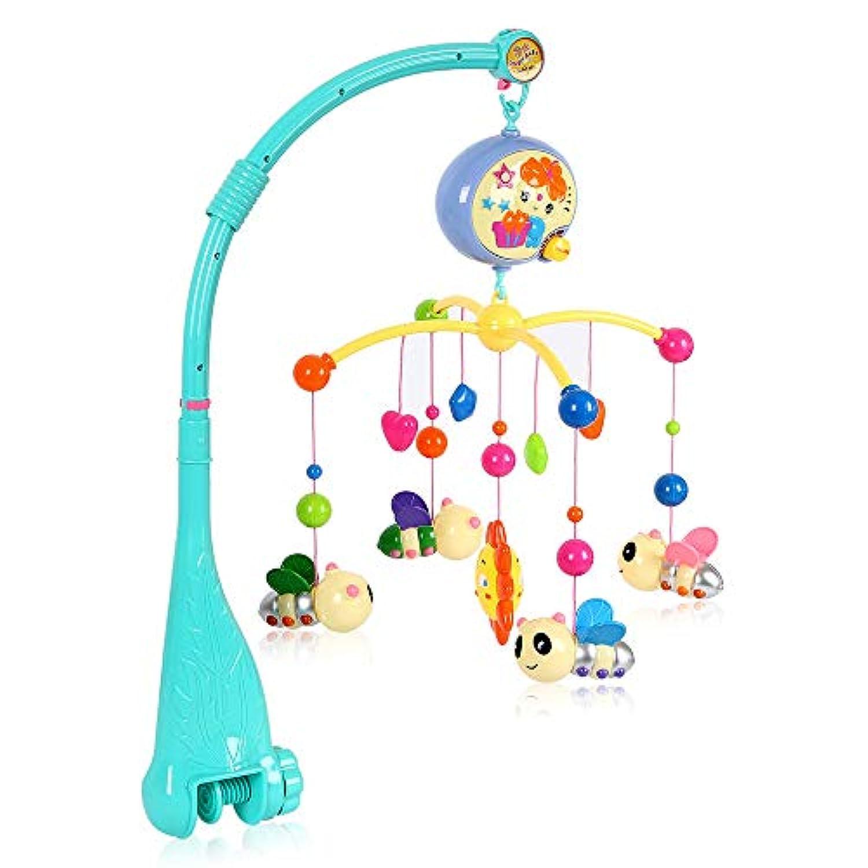 Windyjp メリー オルゴール モビール ベッドメリー ベビーベッド用 音楽回転 がらがら ラトル 多機能 寝かしつけ用品 可愛い 玩具 ぬいぐるみ 知育 発育 高音質 プレゼント (グリーン)
