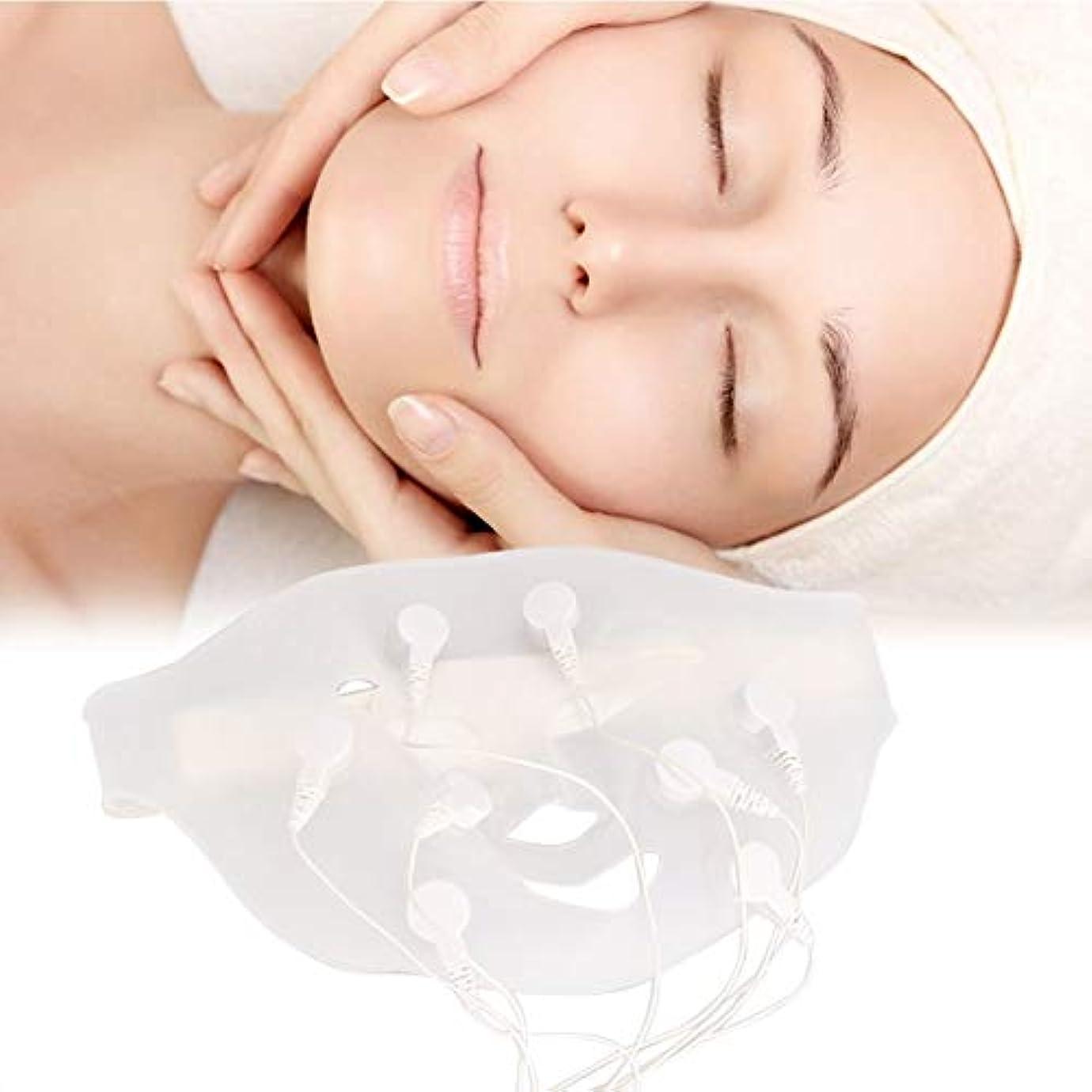 ミニチュア構造的誇張する電動シリコン 3D振動 美容マッサージ スキンケア マッサージスパフェイスマスク、自然なV字型の顔、なめらかな肌、滑らかな細い線の構築、エッセンス吸収の促進(1)