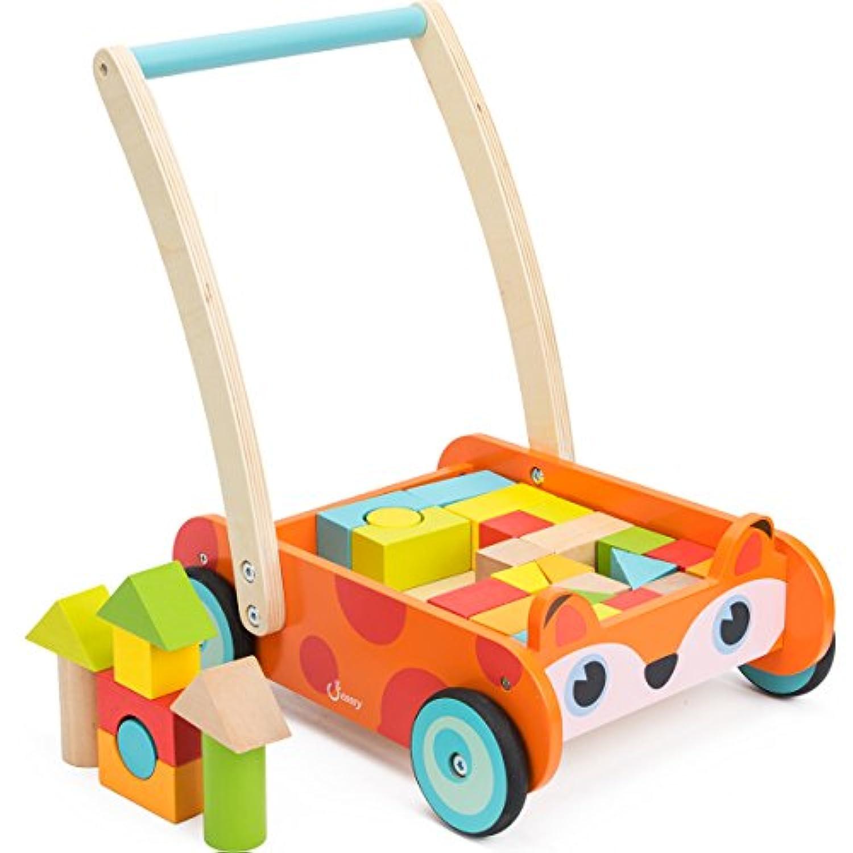 Cossy木製学習ウォーカーベビー幼児用おもちゃの1年古い、フォックスブロックとロールカートプッシュとプルToy34個