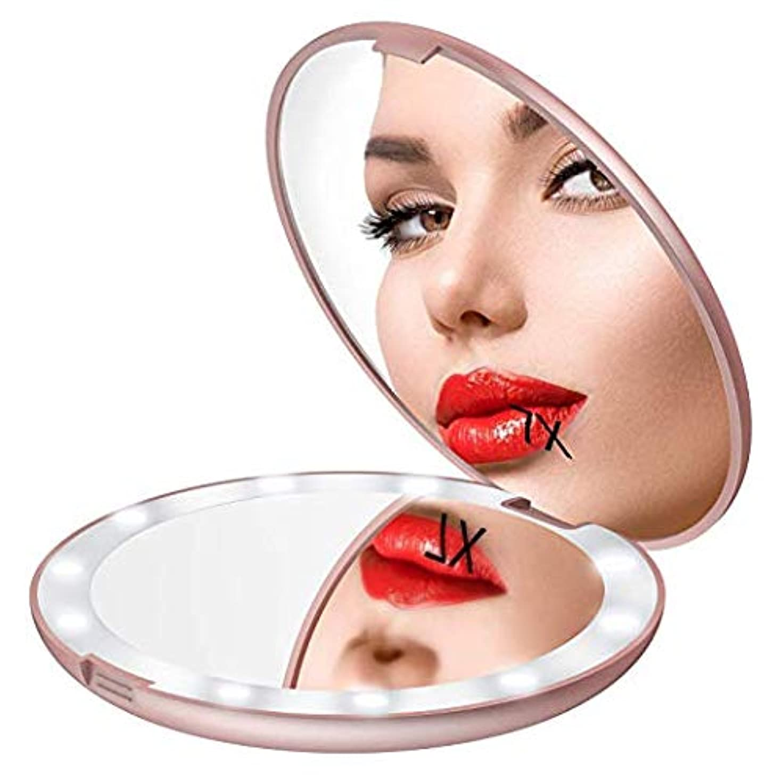 アルファベットメタリック吐くGospire 化粧鏡 7倍拡大鏡 携帯ミラー 化粧ミラー LEDライト 手鏡 折りたたみ式 コンパクト 角度調整可 (ピンクゴールド)