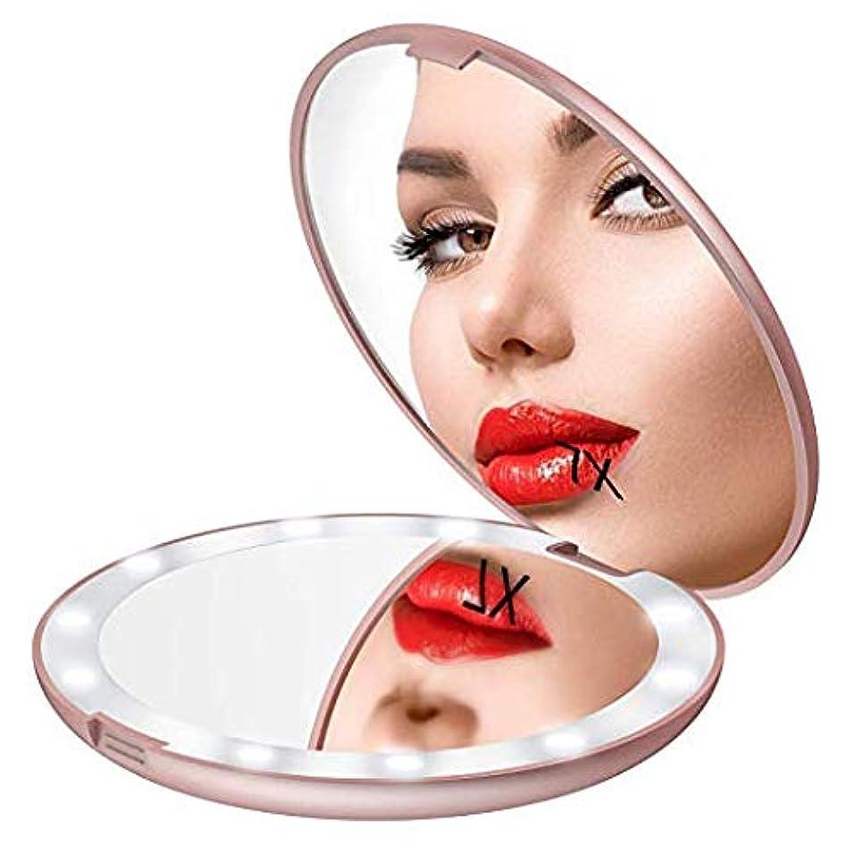 ラダ三十直立Gospire 化粧鏡 7倍拡大鏡 携帯ミラー 化粧ミラー LEDライト 手鏡 折りたたみ式 コンパクト 角度調整可 (ピンクゴールド)