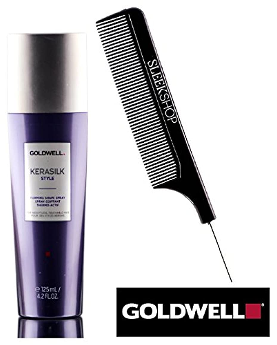 強いますベッドあいまいKerasilk Style by Goldwell 無重力のための(なめらかなスチールピンテールコーム付き)形状にスプレーを形成するGoldwell KERASILK STYLE、触れることができるヘアー 4.2オンス...