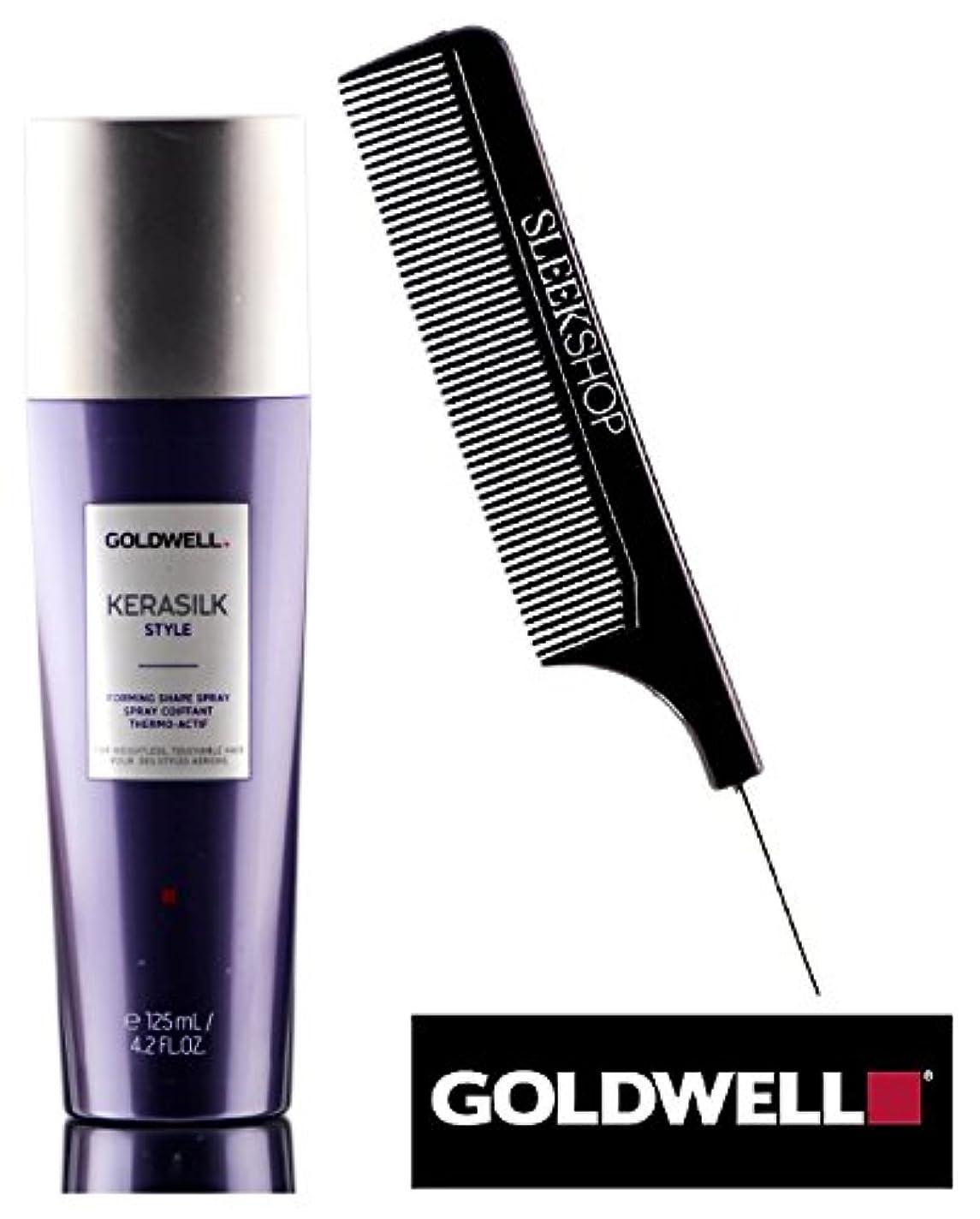 コジオスコ旅客活気づくKerasilk Style by Goldwell 無重力のための(なめらかなスチールピンテールコーム付き)形状にスプレーを形成するGoldwell KERASILK STYLE、触れることができるヘアー 4.2オンス/ 125ミリリットル