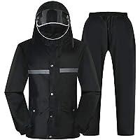 BYWSD Raincoat Rain Pants Suit, Men and Women Split Plus Thick All Body Waterproof Rain Clothes (Color : Black, Size : M)