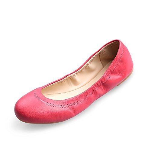レディース フラットシューズ レザー バレエシューズ パンプス ローヒール ペタンコ 靴 歩きやすい 23.5CM, オレンジ 6